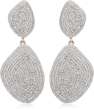 Monica Vinader Nura Double Teardrop Earrings with Diamonds
