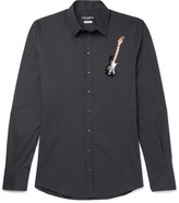 Dolce & Gabbana - Slim-fit Guitar-embellished Stretch-cotton Poplin Shirt