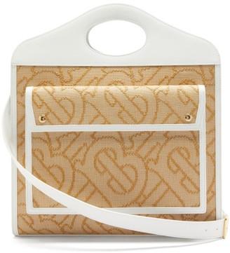 Burberry Pocket Large Tb-woven Raffia Handbag - Beige Multi