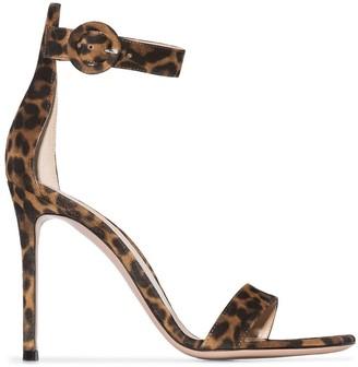 Gianvito Rossi Portofino 105mm leopard-print sandals