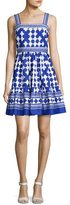 Kate Spade Sleeveless Quatrefoil Lantern Dress, Blue