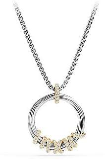David Yurman Women's Helena Medium Pendant Necklace with Diamonds and 18K Gold