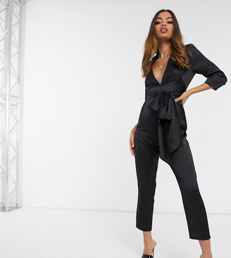 ASOS DESIGN petite satin wrap tux jumpsuit with peg leg