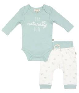 Rabbit+Bear Rabbit + Bear 100% Organic Cotton Baby Boys 2 piece Long Sleeve Bodysuit and Pants Set