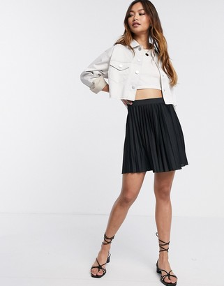 Asos DESIGN pleated mini skirt in black