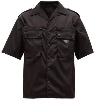 Prada Logo Plaque Patch Pocket Shirt - Mens - Black