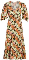 Rhode Resort Fiona Neon Floral Puff Sleeve Wrap Dress