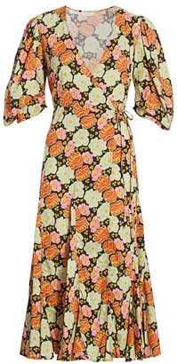 Rhode Resort Fiona Neon Floral Puff Sleeve Wrap Dress