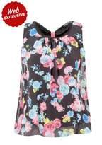 Select Fashion Fashion Womens Black Rose Sless Bubble Blouse - size 10
