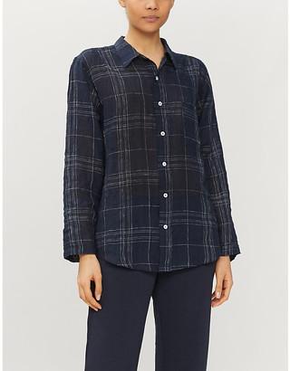 Selfridges Windowpane check linen and cotton-blend sleep shirt