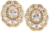 Carolee Gold-Tone Oval Crystal Stud Earrings