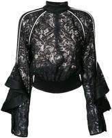 David Koma lace long-sleeve top