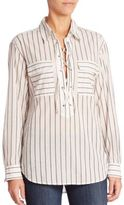 Equipment Knox Yarn Dyed Striped Lace-Up Shirt