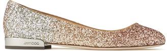 Jimmy Choo JESSIE FLAT Rose Gold Infinity Glitter Flats