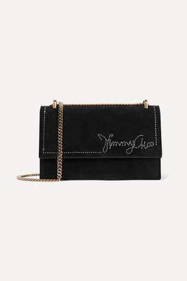 Jimmy Choo Leni Crystal-embellished Suede Shoulder Bag - Black