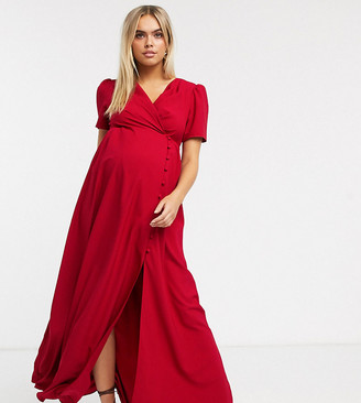 ASOS DESIGN Maternity button through maxi tea dress in red
