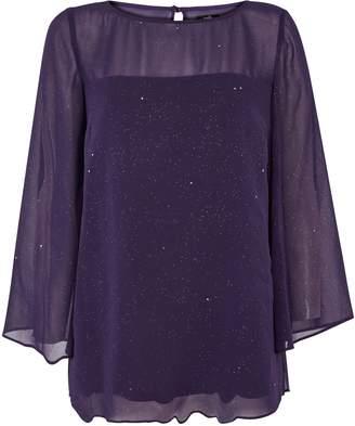 Wallis Purple Sparkle Overlay Top