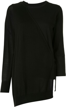 Y's Asymmetric Long-Sleeved Cotton Top