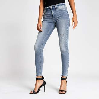 River Island Womens Grey Molly ripped mid rise jeggings