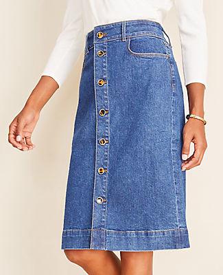 Ann Taylor Petite Denim Button Front Skirt - Curvy Fit