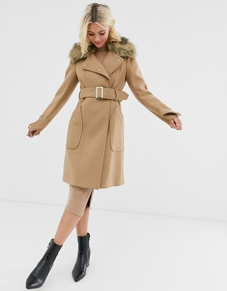 Morgan tailored longline coat with faux fur collar and belted waist in camel-Tan