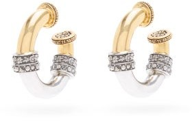 Alexander McQueen Engraved Bi-colour Hoop Earrings - Silver Gold