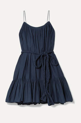 Rhode Resort Nala Ruffled Cotton-poplin Mini Dress - Navy