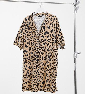 ASOS DESIGN Curve oversized mini shirt dress in leopard print