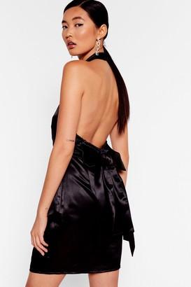 Nasty Gal Womens Bow'ing Out Satin Halter Dress - Black - 6, Black