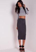 Missguided Longline Jersey Midi Skirt Charcoal Grey