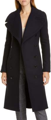 Chloé Ribbed Panel Wool Blend Coat
