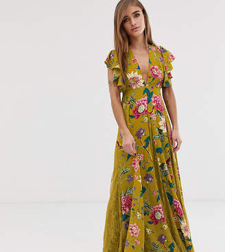 Asos DESIGN Petite maxi dress with lace godets in mustard floral print