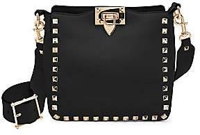 Valentino Women's Garavani Rockstud Mini Pebbled Leather Hobo Bag