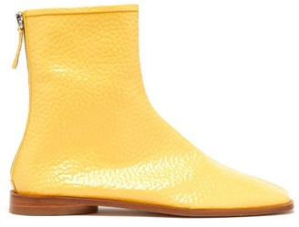 Acne Studios Berta Square-toe Grained Patent-leather Boots - Womens - Beige