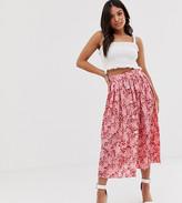 Asos DESIGN Petite knife pleated midi skirt in spring floral print