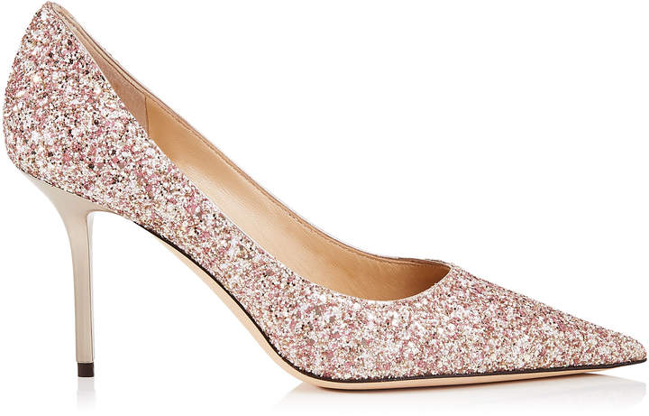 Jimmy Choo LOVE 85 Rosewood Painted Glitter Fabric Pointy Toe Pumps
