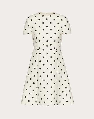 Valentino Short Printed Crepe Couture Dress Women Ivory/black Silk 35%, Virgin Wool 65% 38