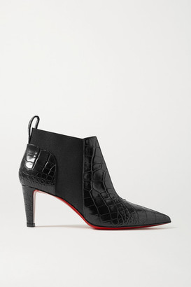 Christian Louboutin Tchakaboot 70 Croc-effect Leather Ankle Boots - Black