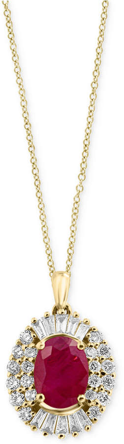 Effy Amore by Certified Ruby (1-3/8 ct. t.w.) and Diamond (1/2 ct. t.w.) Pendant Necklace in 14k Gold, Created for Macy's