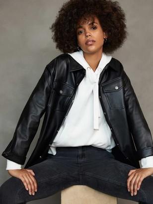 Mint Velvet Faux Leather Shacket - Black