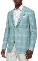 Isaia Plaid Cashmere-Blend Sport Coat, Seafoam/Tan