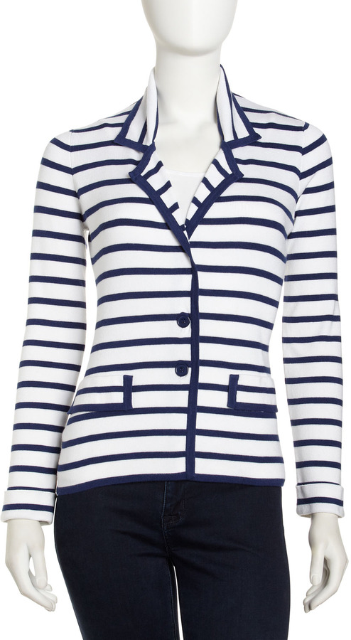 Neiman Marcus Striped Knit Jacket, White Seals/Ocean Blue