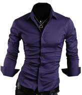 Partiss Mens Pure Color Slim Fit Shirts