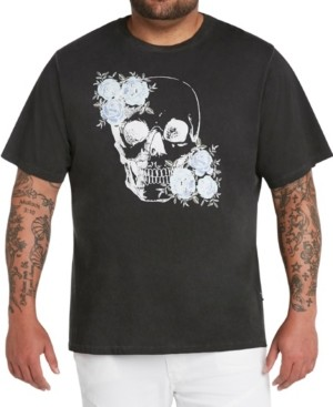 Mvp Collections By Mo Vaughn Productions Mvp Collections Men's Big & Tall Floral Sequin Skull Print Oil Wash T-Shirt