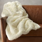CB2 White Faux Fur Throw Blanket