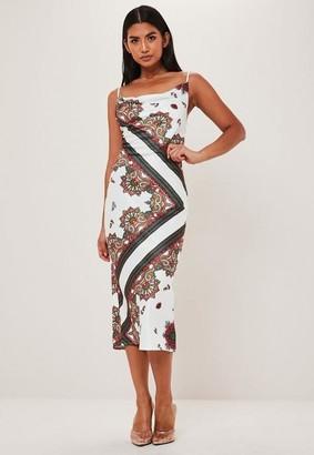 Missguided White Scarf Print Satin Cowl Midi Dress