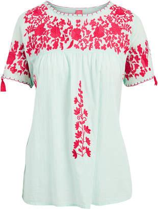 Raj Imports Women's Blouses MINT - Mint & Amaranth Floral-Applique Dorrie Yoke Top - Women