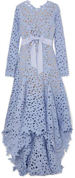 Oscar de la Renta Asymmetric Guipure Lace Gown - Blue