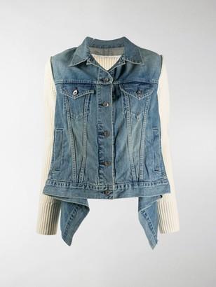 Sacai Draped Knit-Panel Denim Jacket
