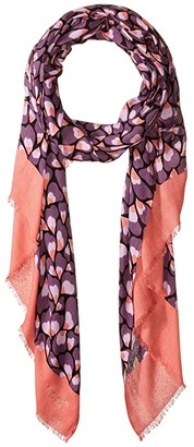 Kate Spade Feathers Oblong Scarf (Chilled Apricot) Scarves